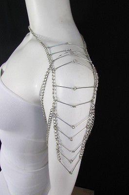 Women Long Silver Metal Single One Side Shoulder Chain Necklace Body Jewelry
