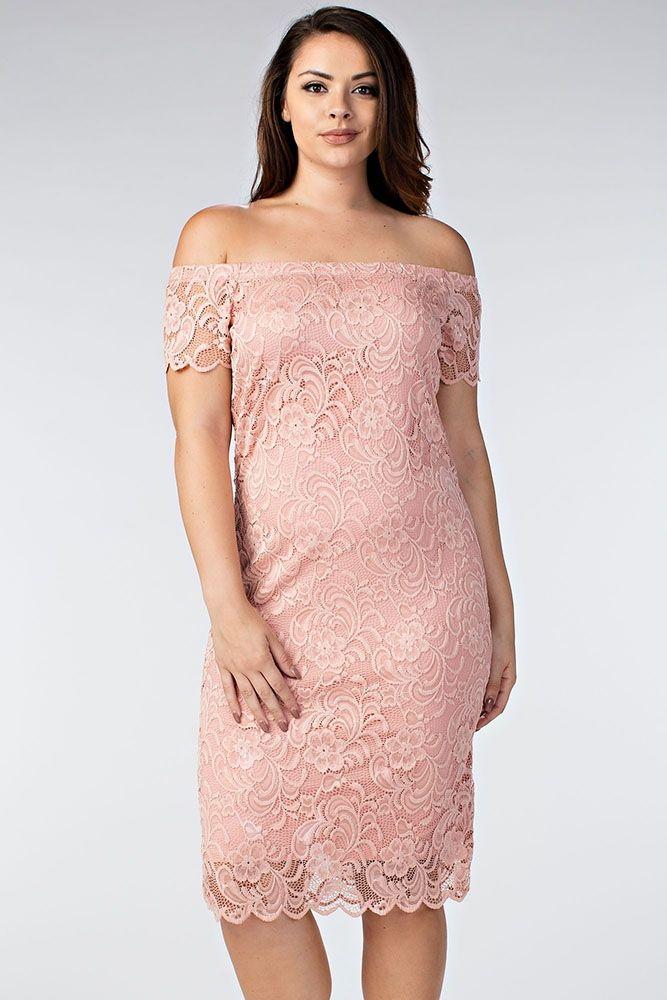 Mauve Lace Off Shoulder Plus Size Dress