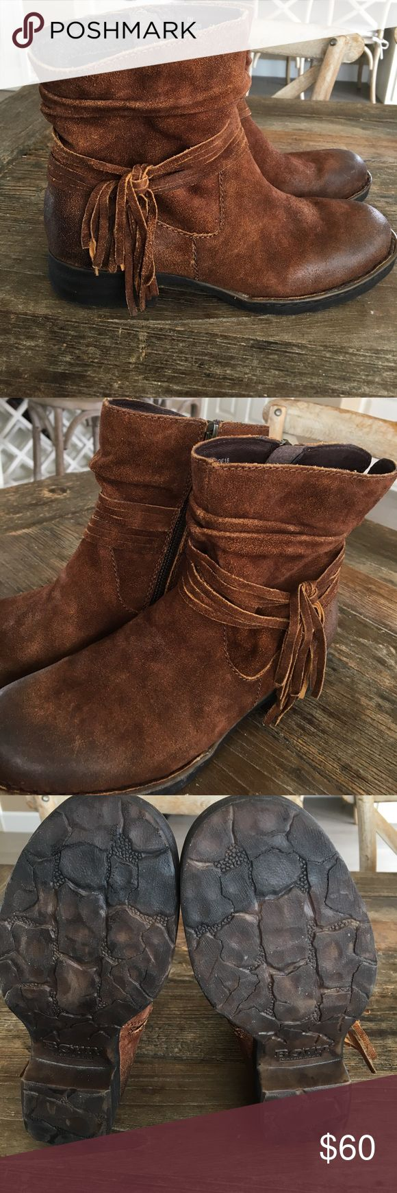 BoRN Boots Cross Distressed Leather 8 Tobacco These beautiful Distressed Suede Leather BORN Tobacco size 8 Boots are beyond comfortable and will go with your BoHo, country or modern style! Super cute and comfy and only worn twice. These sell for $150+ My low price is firm Born Shoes Ankle Boots & Booties