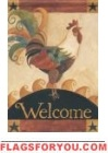 Welcome Rooster Garden Flag