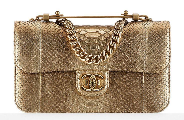 Chanel Python Flap Bag Gold Handbags - Fall-Winter 2014/15 Pre-Collection - CHANEL