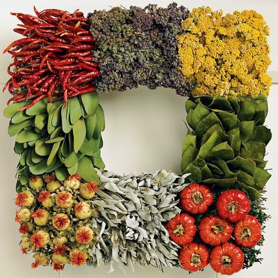 handmade Culinary wreath  with those cherry peppers, sage, safflower, bay leaves, red chilies and purple oregano!  Culinary Square Wreath