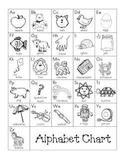 Alphabet Chart--for students' take home folders.