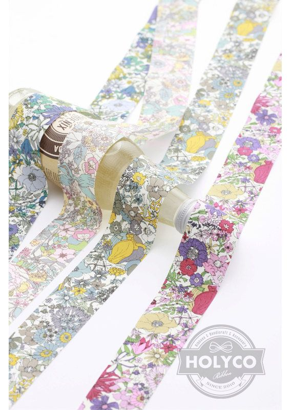 Serena Flower Printed Fabric Ribbon / 1cm0.39 2.5cm1 by HOLYCO