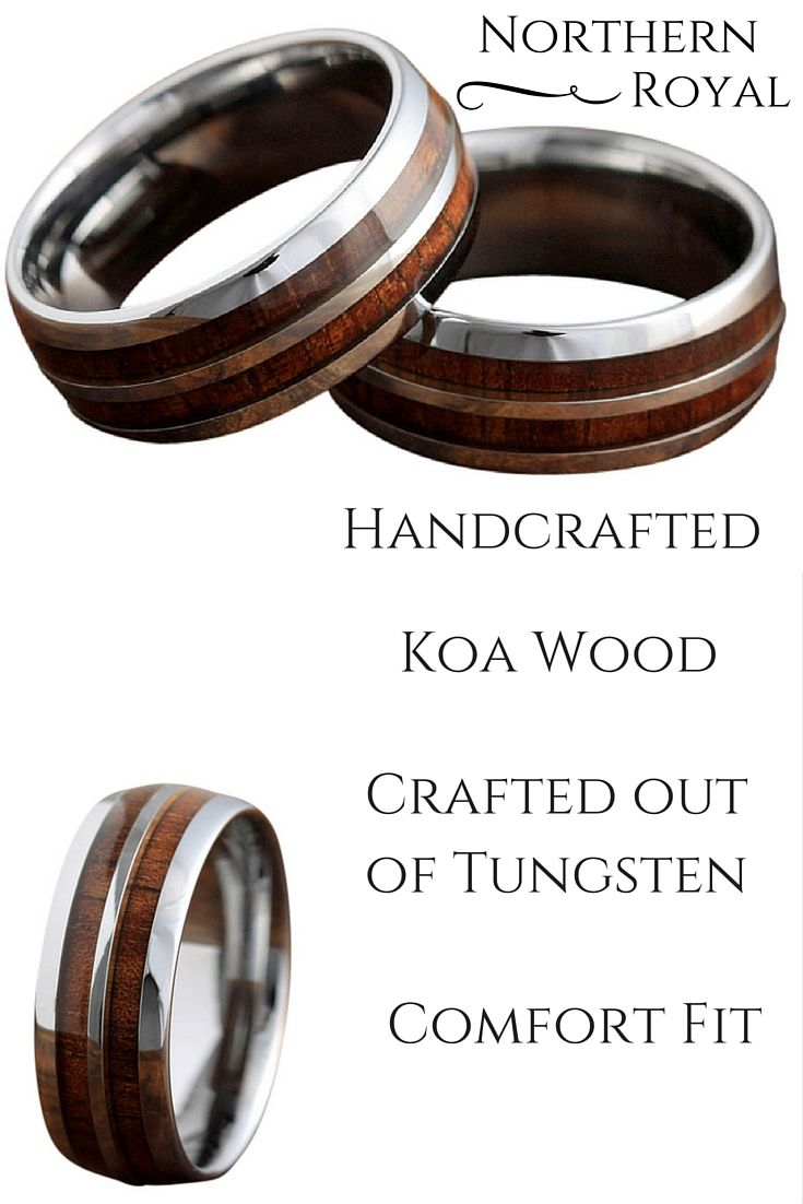 mens wood wedding bands mens wedding rings wood 8mm Handcrafted tungsten carbide ring made with genuine koa wood Truly one awesome mens or