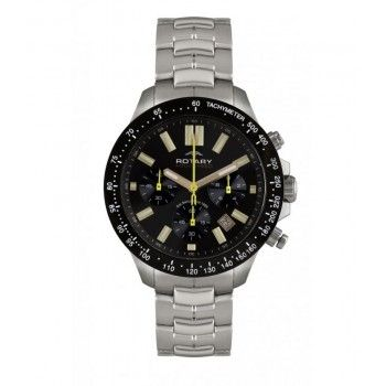 Rotary Stainless Steel Black Dial Date Gents Watch - Rotary Watches - Collections - by Samuels Jewelers
