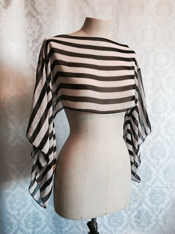Black and white stripe Kimono sleeve top by KitsuneCoutureFI