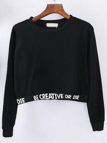 Black Letter Print Crop Sweatshirt