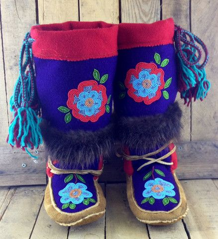Blue and Red Beaded Flowers on Hand Tanned Moose Hide Mukluks with Beaver Fur