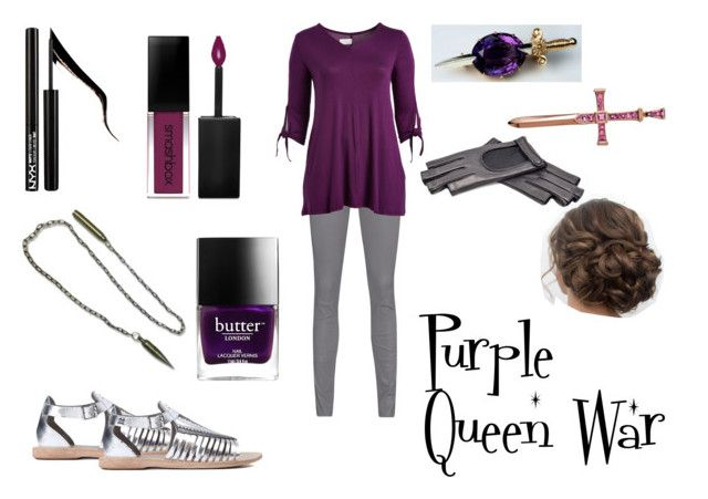 """""""Purple Queen War"""" by aalittles ❤ liked on Polyvore featuring Arma, Hudson, Smashbox, Forever 21, Butter London, Gucci and plus size clothing"""