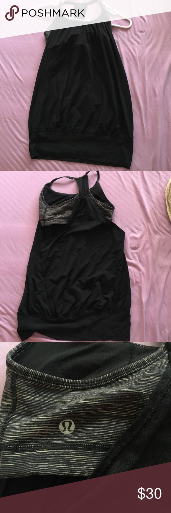 Lululemon sports bra tank grey and black Unsure of size. I have 32ddd and am petite and it fits. Probably a size 4 or 6 lululemon athletica Tops