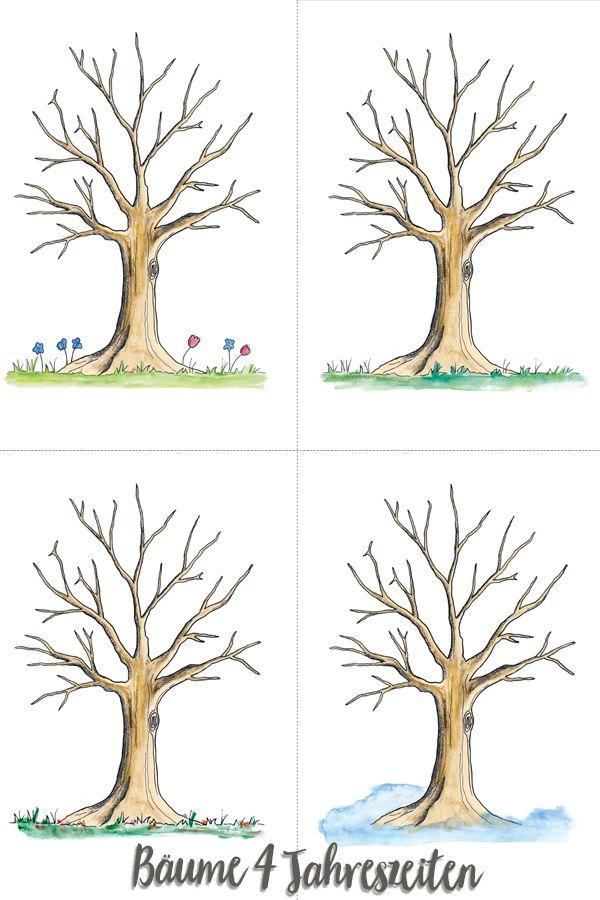 Kunstunterricht Ein Jahreszeitenbaum Grundschule 1