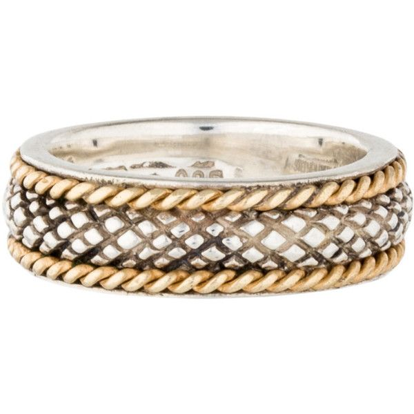 Pre-owned Stephen Dweck Two-Tone Textured Band ($125) ❤ liked on Polyvore featuring jewelry, rings, pre owned rings, stephen dweck jewelry, sterling silver jewelry, band rings and two tone rings