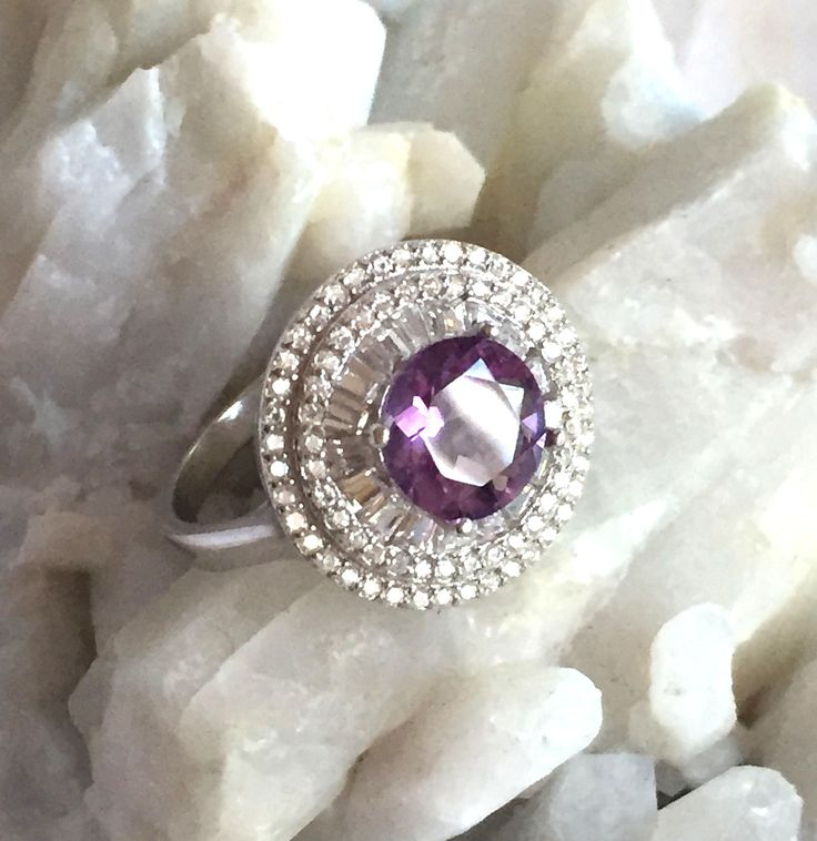 Natural Brazilian AMETHYST Precious Gemstone, Cubic Zirconia, 14K White Gold and 925 Sterling Silver, Regency Ring Jewellery Sz 8. by AmeogemPreciousJewel on Etsy