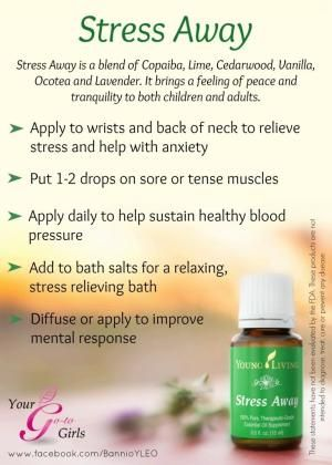 Young Living Stress Away Essential Oil Uses… … Ok, I confess, Stress Away is another one of my favorite essential oil blends.  When I first got my Young Living Premium Starter Kit, I would apply Stress Away to my wrists … Continue reading → by tammi