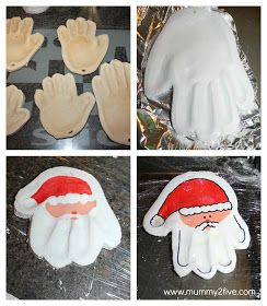 Mummy2five: Salt Dough Santa Hand prints & Angel Foot Prints
