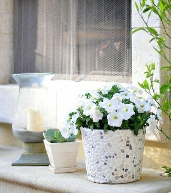 blumentpfe selber machen blumentopf design idee mit steinen wei mit grau und beige komibnieren skandinavisch - Grau Wei Deko Selber Machen