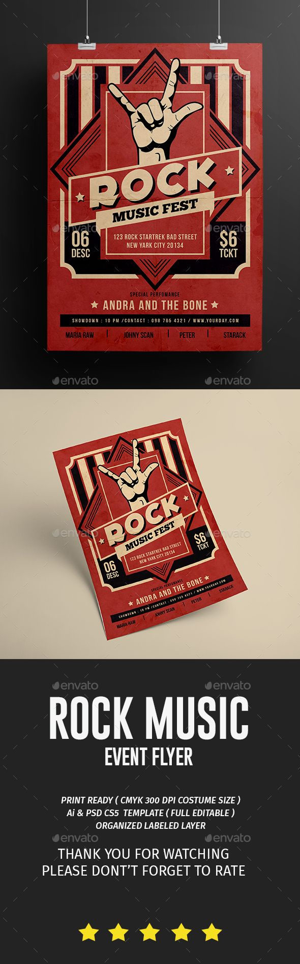 Rock Music Flyer  — PSD Template • Only available here ➝…