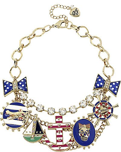 ANCHOR MULT CHARM NECKLACE MULTI accessories jewelry necklaces fashion