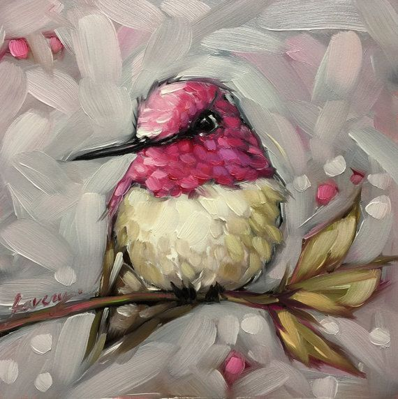 Annas Hummingbird painting, 5x5 original impressionistic oil painting of a Annas Hummingbird by Andrea Lavery. Unique gift for a bird or nature lover. 5x5 oil painting on 1/8 thick fine art panel. Frame not included.  *Pre-Order - This painting is fresh off the easel. It will be ready to ship Sept. 5th Artwork is photographed and the image is adjusted to match the original painting as possible. If you have any other questions please feel free to contact me.  Copyright Andrea Lavery Art © all…