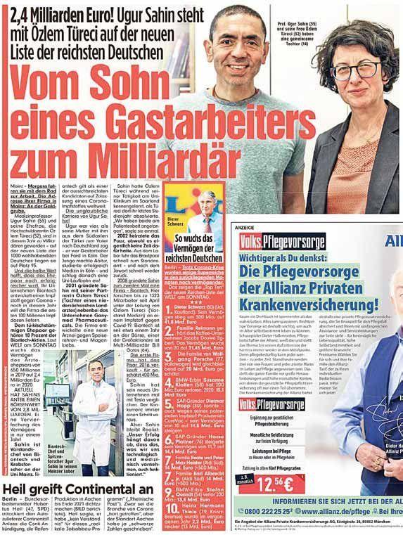 Almanya Yi Sallayan Milyarder Turk Alaturka Online 2020 Mainz Biyoteknoloji Euro