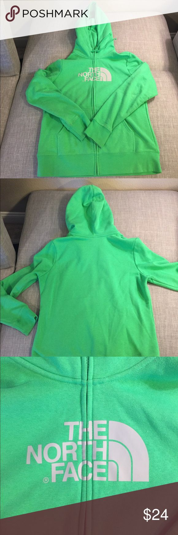 North Face Kelly Green Zip up Sweatshirt GUC Thick zip up sweatshirt, very little piling (shown in folder under arms), no fading North Face Tops Sweatshirts & Hoodies