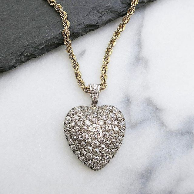 Antique Victorian Diamond Heart Pendant in Silver and Gold circa 1870 #vintage #jewelry