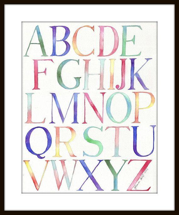 Alphabet Art Watercolor Original Painting Typography by jojolarue
