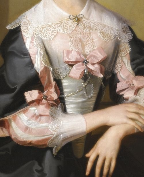 Portrait of Susan, Mrs Henry Hoare of Stourhead, Detail. (1743) by William Hoare of Bath (1707-1792)