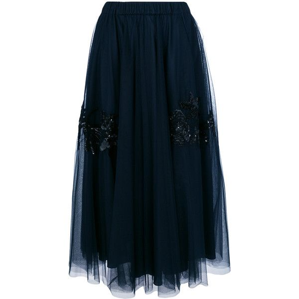 P.A.R.O.S.H. sequin embellished full skirt (£490) ❤ liked on Polyvore featuring skirts, blue, blue skirt, full skirt, sequined skirts and blue sequin skirt