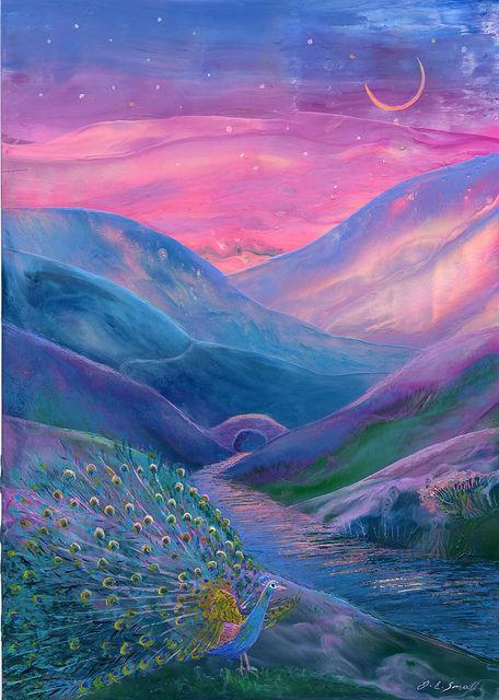 Peacock Magic by Jane Small Fine Art on Flickr.    kThis post has 2,031 notes   tThis was posted 11 months ago  zThis has been tagged with mystical art, spiritual art, peacock painting, fantasy art, peaceful paintings, peaceful art, pink skies, moons, bridges, stars,