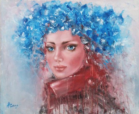 Pittura con i colori ad olio Ritratto su tela di NatalieCugArt