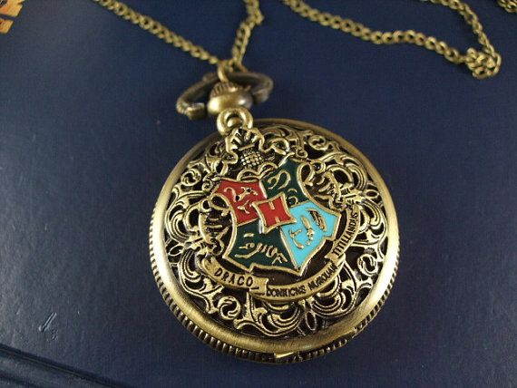 harry potter the death hallows pocket watch Hogwarts School Seal brass necklace pendant chain charm antique jewelry on Etsy, $0.20