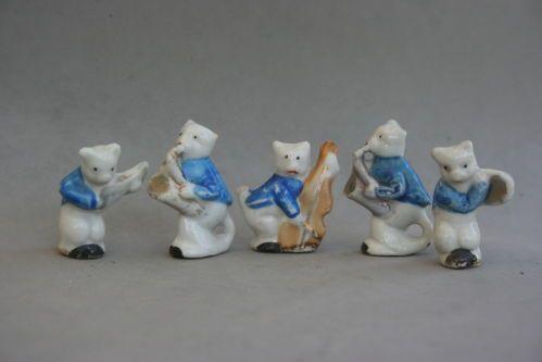 Cat Band Figures Jazz Players Kitten Musicians Instruments Vintage Japan Set 5 | eBay