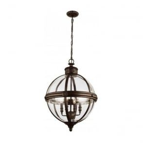 Traditional Hanging Ceiling Pendant Light Inspired By Victorian Age Globe Shaped Suspended In Decorative Antique Nickel With Glass