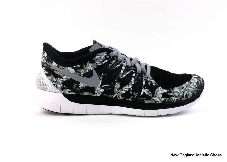 Nike men's Free 5.0 Print running shoes sneakers size 9 Black Wolf Grey  White