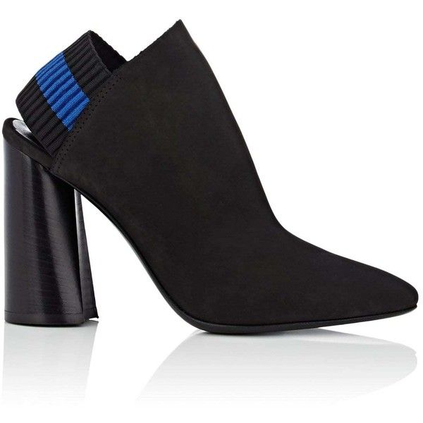 3.1 Phillip Lim Women's Drum Nubuck Slingback Ankle Booties ($650) ❤ liked on Polyvore featuring shoes, boots, ankle booties, black, black stacked heel booties, black ankle boots, black ankle bootie, high heel bootie and wide width booties