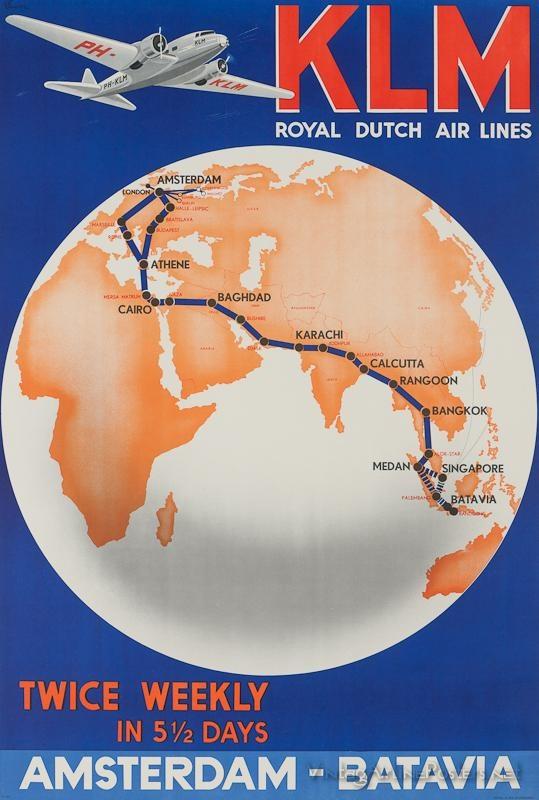 Vintage Poster / Retro Poster KLM Royal Dutch Airlines