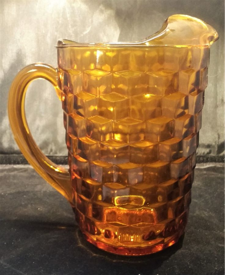 Midcentury amber glass cubist pitcher
