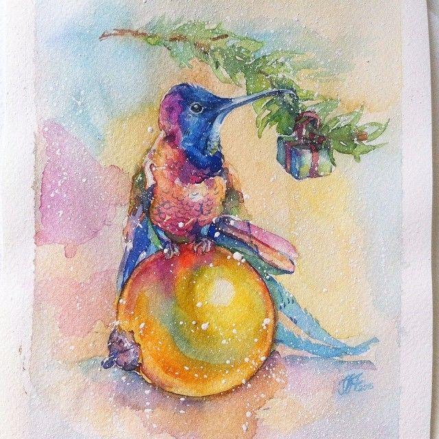 Подарочная акварельно-праздничная  тема продолжается)Немного снега и совсем южная птичка..с подарком!Акварель.Бумага Fabriano.#Watercolor#watercolors#watercolorpainting#painting#aquarelle#aqwarelle#акварель#живопись#акварельныецветы#творчество#любимаяработа#artwork#sketch#мастеркласс