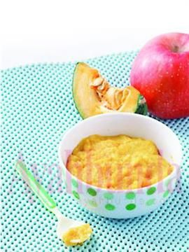 Apple Pumpkin Puree. Use breastmilk. For baby 6 months up. Recipe in Bahasa Indonesia.