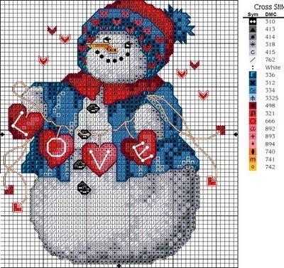 Punto de Cruz GRATIS: Muñeco de Nieve LOVE