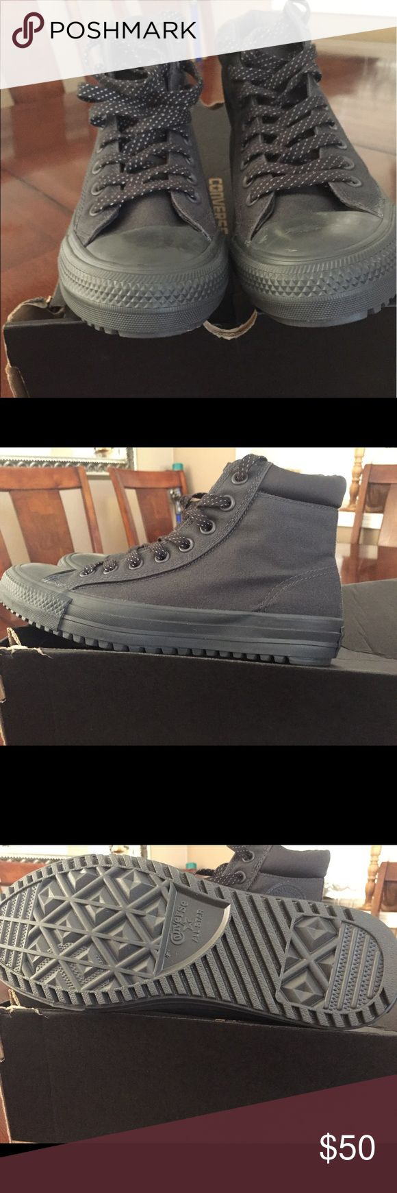 Men's Converse sz 7 Men's Converse sz 7. Or can be women's size 9. Brand New. Color is called Almost Black.  Label inside says Counter Climate water repellent. Converse Shoes Sneakers