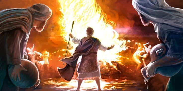 Fogo da parte de Jeová consome a oferta queimada de Elias