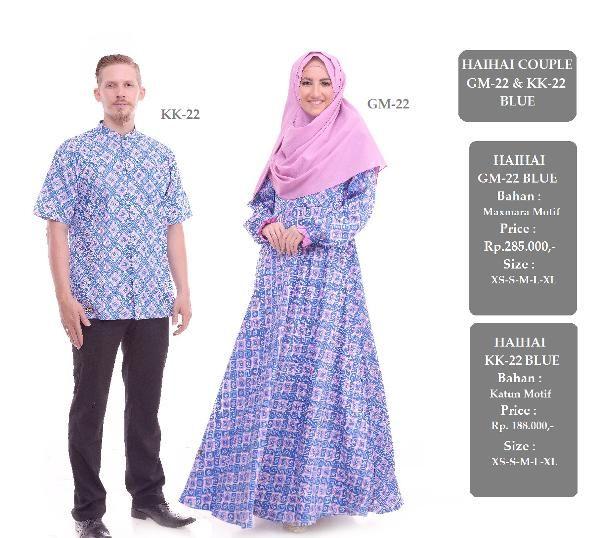 Jual beli Baju Sarimbit Couple GM-22 & KK-22 BLUE di Lapak Aprilia Wati - agenbajumuslim. Menjual Baju Muslim Couple - Baju Sarimbit Couple GM-22 & KK-22 BLUE Harga : Rp. 473.000  Baju Gamis HAIHAI GM-22 BLUE HARGA : Rp. 285.000 Bahan Maxmara motif Size : XS - S - M - L - XL  Baju Kemeja Pria HAI-HAI KK-22 BLUE HARGA : Rp. 188.000 Bahan 100% cotton mutif Size : XS - S - M - L - XL  Stok Barang Berubah sewaktu-waktu tanpa pemberitahuan terlebih dahulu, Mohon pastikan ketersedia...