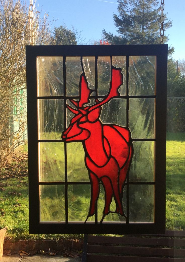 """Red Deer Not"" a stained glass artwork by Brian Dickinson from #dolittleglass.   It's actually modelled from a Fallow deer in Bradgate Park, Leicestershire, England.  Wedding present. Unique Art. Hand Made,"