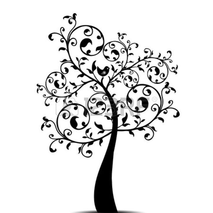 Bellissimo albero arte Isolato su Sfondo bianco Vector
