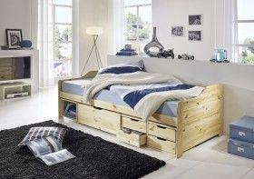 Bett 90x200 Fabia mit Schubladen, Kiefer natur lackiert