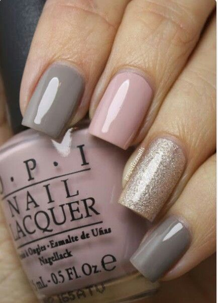 Beautiful nails | cute idea | pink & gray
