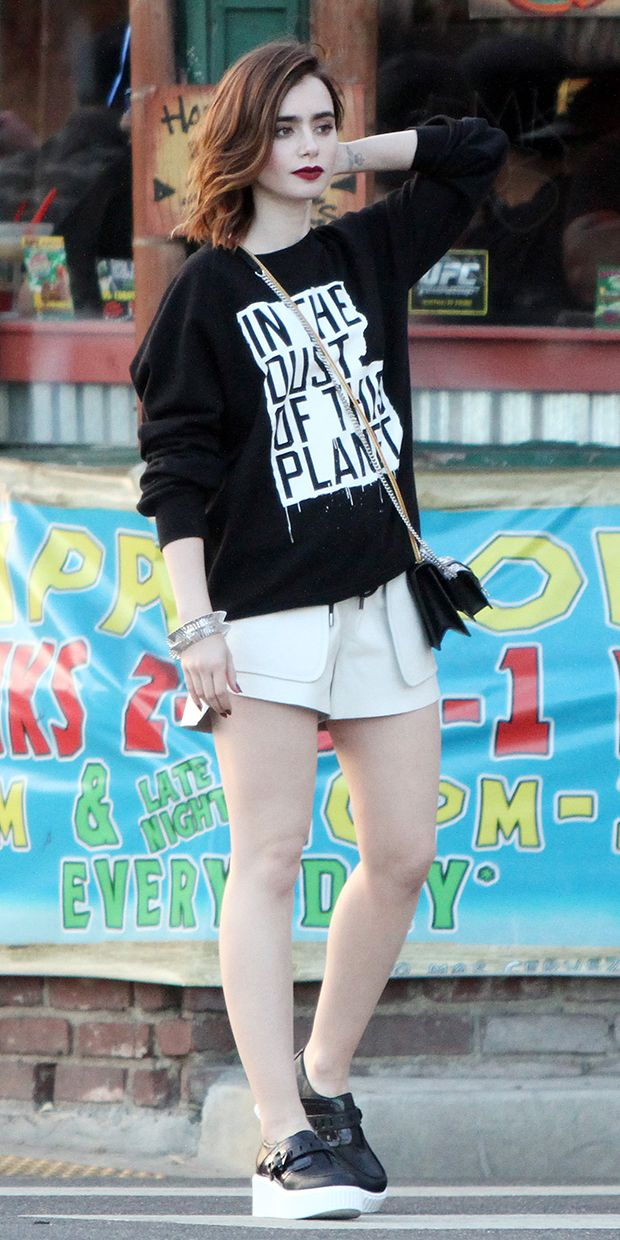 Lily Collins in effortlessly cool black and white separates // Click the photo to shop her look #Fashion #StreetStyle